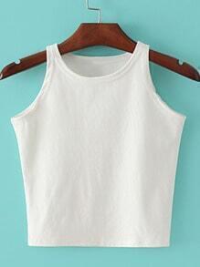 White Round Neck Crop Camis Top