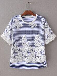Blue Short Sleeve Lace Crochet Splicing Stripe T-shirt
