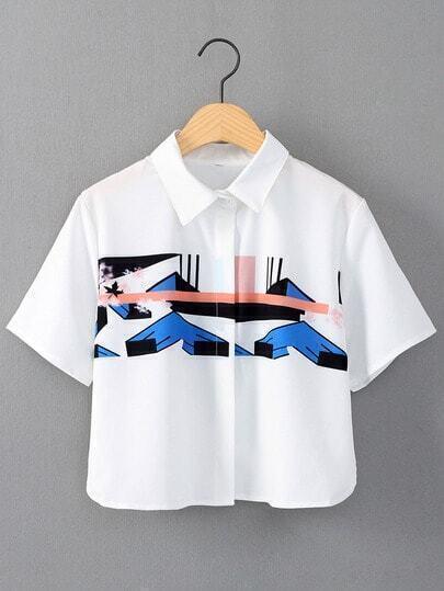 White Short Sleeve Split Side Print Blouse