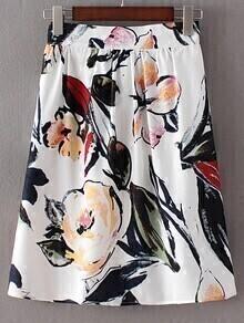 Multicolor Elastic Waist Ink Flowers Print Skirt