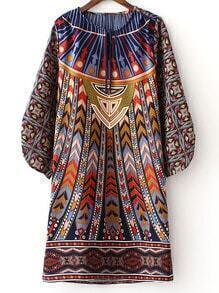 Multicolor Long Sleeve Tie Neck Vintage Print Dress