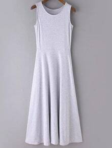 Grey Round Neck Sleeveless Casual Skater Maxi Dress