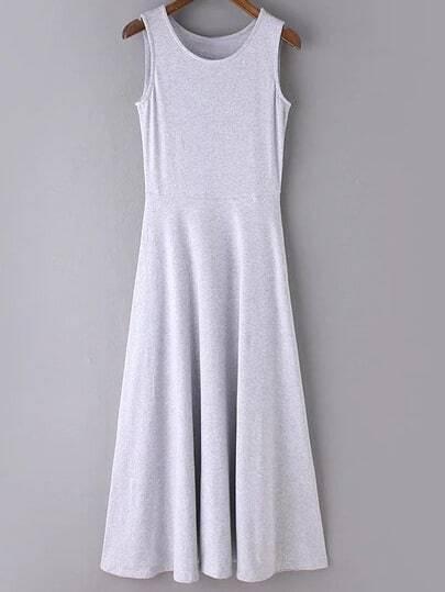 Grey Round Neck Sleeveless Casual Skater Maxi Dress