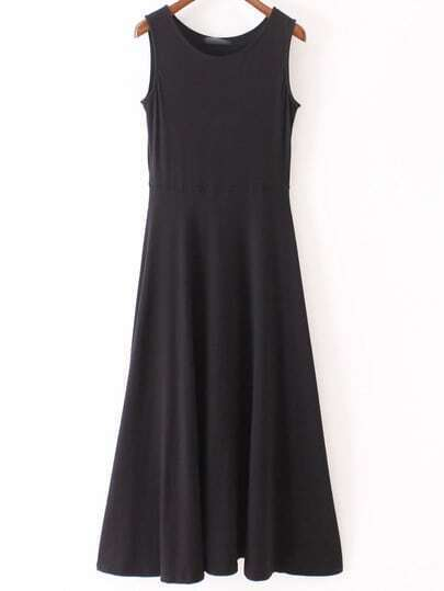 Black Round Neck Sleeveless Casual Skater Maxi Dress