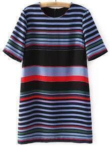 Multicolor Stripe Zipper Back Short Sleeve Dress