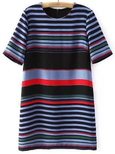 Multicolor Stripe Zipper Back Short Sleeve Dress
