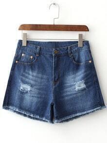 Blue Pockets Fringe Trim Ripped Hole Denim Shorts