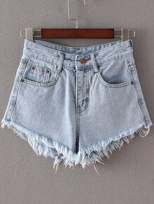 Light Blue Pockets Fringed Trim Denim Shorts