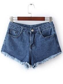 Dark Blue Pockets Fringed Trim Denim Shorts