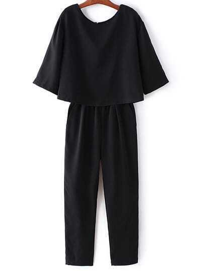 Black Pockets Split Back Half Sleeve Jumpsuit