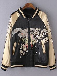 Multicolor Pockets Zipper Front Convertible Embroidery Jacket