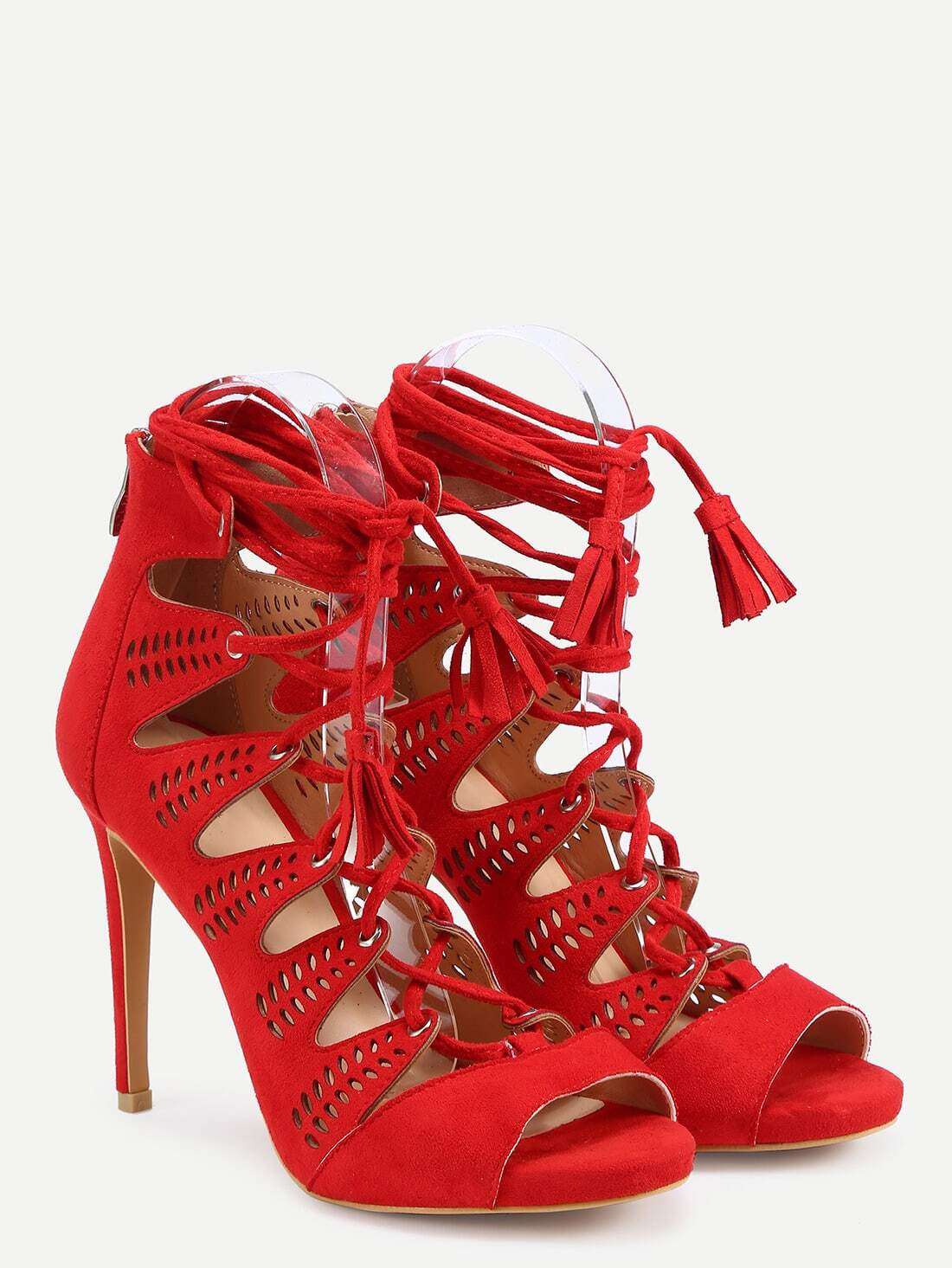 Faux Suede Lace-Up Heels - Red -SheIn(Sheinside)