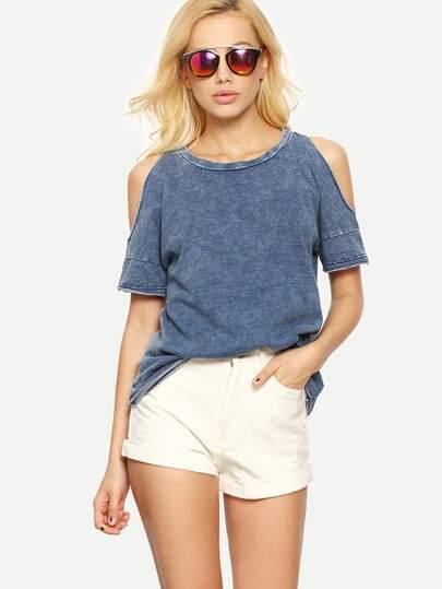 Blue Cold Shoulder Short Sleeve T-shirt
