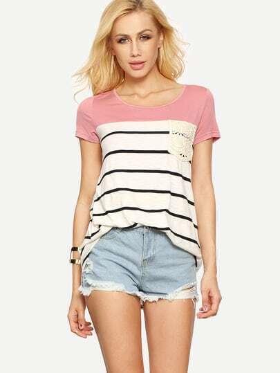 Multicolor Short Sleeve Stripe Pocket T-shirt