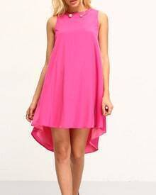 Hot Pink Sleeveless Dip Hem Shift Dress