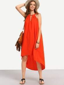 Red Sleeveless Hollow High Low Shift Dress