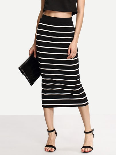 Contrast Striped Split Back Midi Skirt