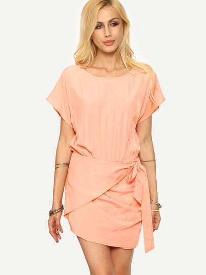 Pink Short Sleeve Bow Tie Dress