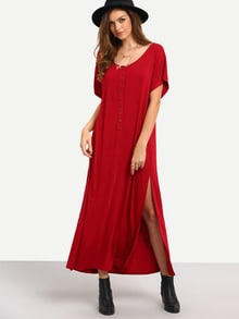 Burgundy Short Sleeve Bottons Split Shift Maxi Dress