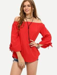 Red Off The Shoulder Tie Cuff Blouse