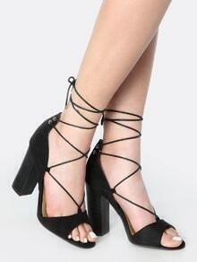 Wrap Up Open Toe Chunky Heels BLACK