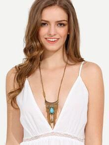 Gold Turquoise Coins Tassel Pendant Necklace