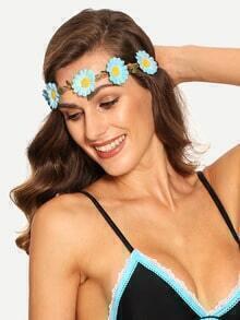 Blue Flower Braided Hairband
