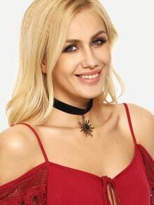 Sun Pendant Velvet Choker Necklace