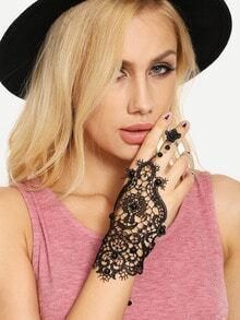 Black Crochet Lace Beaded Hand Chain