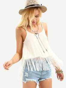 Fringe Trimmed Backless Cami Top - White