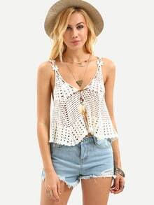 Double V-Neck Hollow Out Crochet Tank Top - White