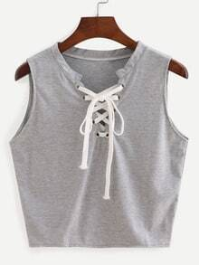 Eyelet Lace-Up Tank Top - Grey