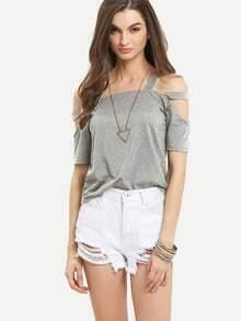 Ladder-Cutout Shoulder T-shirt - Grey