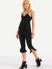 Ruched Cami Top With Ruffled 3/4 Length Pants - Black