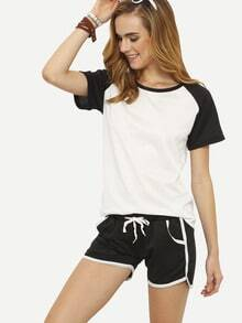 Contrast Raglan Sleeve T-shirt With Drawstring Shorts