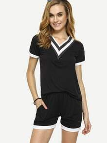 Striped V-Neck T-shirt With Shorts - Black
