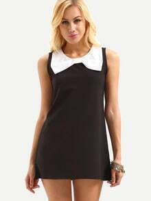 Contrast Bow Embellished Sleeveless Shift Dress - Black