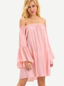 Ruffled Off-The-Shoulder Bell Sleeve Dress - Pink