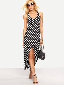 Crisscross Back High-Low Black White Striped Dress
