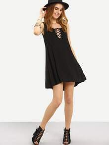 Lace-Up V-Neck Swing Tank Dress - Black