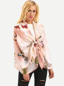 Butterfly Print Shawl - Pink