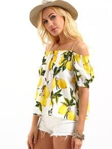 Cold Shoulder Lemon Print Top - Yellow