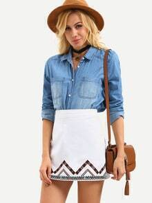 Embroidered Mini A-Line Skirt - White