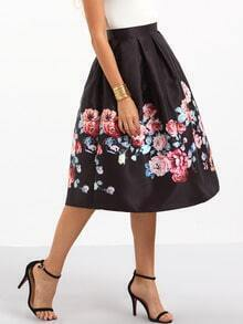 Flower Print Box Pleated Midi Skirt - Black
