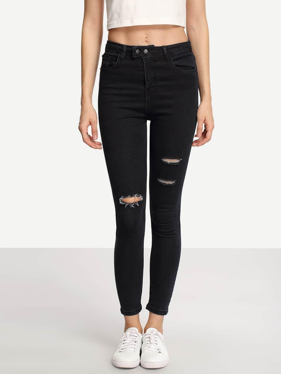 Ripped Black Skinny Jeans -SheIn(Sheinside)