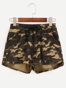 Elastic Waist Camouflage Shorts - Olive Green