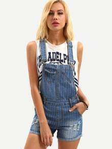 Striped Frayed Overall Blue Denim Shorts