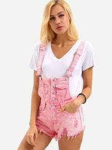 Buttoned Front Raw Hem Overall Pink Denim Shorts