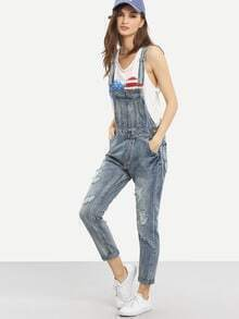 Frayed Overall Light Blue Denim Jeans