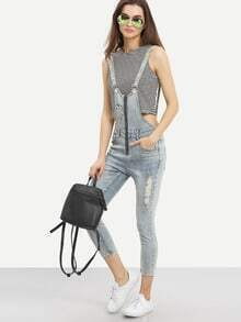 Zip Front Overall Light Blue Denim Jeans
